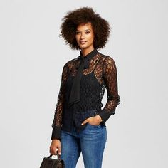 Women's Lace Bow Blouse - Who What Wear ™