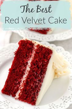 is my favorite Red Velvet Cake recipe! With a vanilla flavor, this cake also has a hint of chocolate in it as well. This cake is incredibly soft, moist, and buttery. Top of the best Red Velvet Cake with an easy, delicious cream cheese frosting. Homemade Red Velvet Cake, Easy Red Velvet Cake, Red Velvet Recipes, Easy Moist Red Velvet Cake Recipe, Red Velvet Cake Recipe With Cream Cheese Frosting, Res Velvet Cake, Red Velvet Chocolate Cake, Best Red Velvet Box Cake Recipe, Natural Red Velvet Cake Recipe