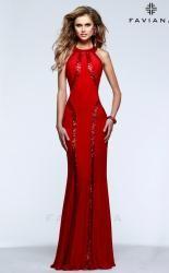 red evenning dress from faviana