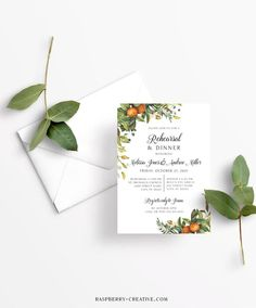Fall Rehearsal Dinner Printable Template Greenery Citrus image 2