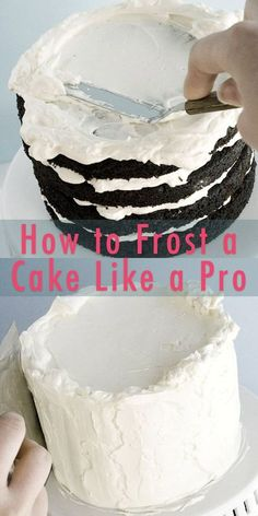 How To Frost A Smooth Cake With Buttercream (Or cream cheese frosting or ganache or stuff from the store! This step by step tutorial is easy and full of tips that are great for beginners. Cake Decorating For Beginners, Easy Cake Decorating, Cake Decorating Techniques, Cake Decorating Tutorials, Cake Icing Techniques, Piping Techniques, Decorating Supplies, Cakes To Make, How To Make Cake