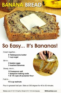 Easy Banana Bread Recipes Lovely Banana Bread so Easy It S Bananas- made 4 small loaf pans. Turned at 20 Köstliche Desserts, Delicious Desserts, Dessert Recipes, Yummy Food, Dessert Bread, Tasty, Banana Bread Recipes, Banana Bread Recipe 3 Bananas, Overripe Banana Recipes