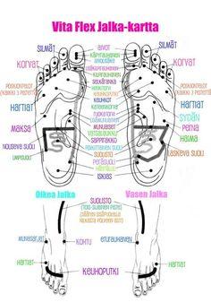 Jalkakartta Pressure Points, Vase, Essential Oils, Health Fitness, Memes, Words, Bra, Legs, Therapy
