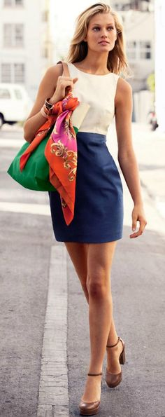 Green Bag - Neutral Color Body Outfit - Color Combo on Scarf - Perf!