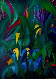 ARTFINDER: Raindrop Rainforest by Komal Madar - Raindrop Rainforest has been created from my imagination. I wanted it to be an exotic painting hence the use of warm colours and shimmer. I believe there are...