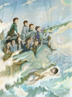 Peter Pan, Wendy and the Lost Boys sail home on Hook's ship. Coloured Pencil on…