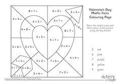Valentine's Day Maths Facts Colouring Page