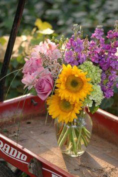 Radio Flyer Wagon and Flowers