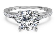 #Ritani Modern Bypass Micropave Diamond Band Engagement Ring