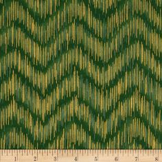 Imperial Collection Metallics Dash Chevron Vintage from @fabricdotcom Designed by Studio RK for Robert Kaufman, this cotton print is perfect for quilting, apparel and home decor accents. Colors include shades of green and metallic gold.