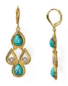 Alexis Bittar Scalloped Turquoise Leverback Earrings