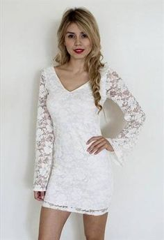 white long sleeve lace dress 2016 » MyDresses Reviews 2017
