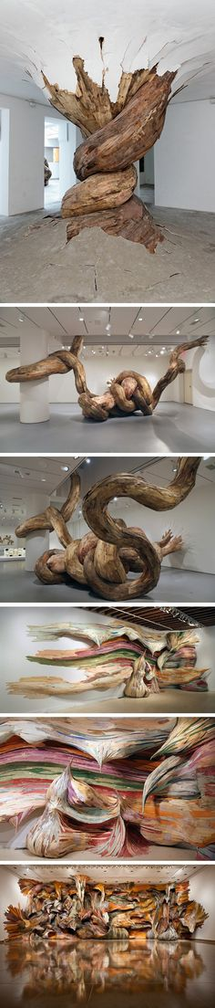 Incroyables sculptures en bois par Henrique Oliveira  Pinned by ZenSocialKarma                                                                                                                                                                                 More