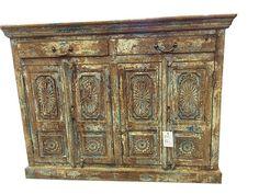 Antique Indian Sideboard Chest Dresser Patina Vintage Teak Wood Rustic Buffets  #ArtDeco #wood