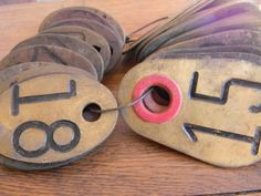 Vintage Metal Number Tag Solid Brass Cow Tag by ThisOldWarehouse, $12.00