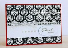Elegant A Muse Card, damask, pearls and simple design