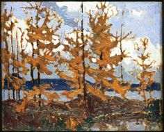 Tamaracks by Tom Thomson Group Of Seven Artists, Group Of Seven Paintings, Emily Carr, Canadian Painters, Canadian Artists, Abstract Landscape, Landscape Paintings, Landscapes, Tree Paintings