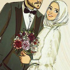 Sükut-u Lisan Selameti İnsan Cute Couple Comics, Cute Couple Art, Couple Cartoon, Girl Cartoon, Cute Muslim Couples, Cute Anime Couples, Best Facebook Profile Picture, Bride And Groom Cartoon, Flower Graphic Design