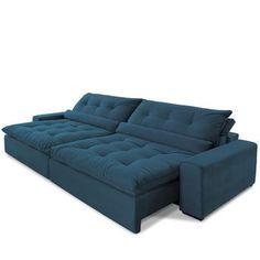 Sofá Anjos Confortable 3 Lugares Retrátil e Reclinável Veludo Azul 14123