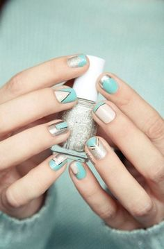 Butter London and Essie nail art.mint, metallic silver, sparkly glitter, and c. Triangle Nail Art, Geometric Nail Art, Striped Nail Designs, Cool Nail Designs, Nail Art Stripes, Striped Nails, Trendy Nail Art, Cool Nail Art, Butter London