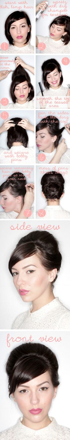 Easy updo for short hair. http://www.latest-hairstyles.com/formal/updos/fast-and-fabulous.html