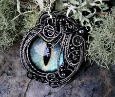 Gothic Steampunk Mink Evil Eye Pendant with Sage Blue and Gold Grande Baby Pendant