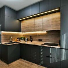 New Kitchen Interior, Modern Kitchen Interiors, Kitchen Room Design, Modern Kitchen Cabinets, Kitchen Cabinet Design, Modern Kitchen Design, Home Decor Kitchen, Home Interior Design, Interior Architecture