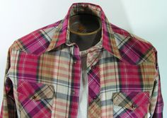 western pearl snap shirt mens large plaid burgundy by moivintage, $17.99