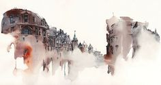 Architectural Watercolors by Sunga Park Famous places in Aquarelle painting is a project by Korean artist and illustrator Sunga Park. Sunga currently lives and works in Busan, South Korea. She started. Watercolor Architecture, Architecture Drawings, London Architecture, Classic Architecture, Watercolor City, Watercolor Paintings, Watercolors, Watercolor Sketch, Watercolor Landscape
