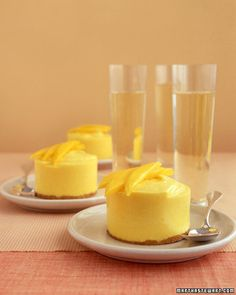 These chilled treats may bring back memories of chasing down the ice cream truck. Sweet mango joins tart citrus and rich cream in this inspired frozen mousse that Frozen Desserts, Frozen Treats, Just Desserts, Dessert Recipes, Mango Desserts, Mango Drinks, Cold Desserts, Cupcake Recipes, Dessert Ideas