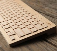 Portable wireless #keyboard made of premium Maple wood for tablets, smartphones and PCs equipped with Bluetooth.