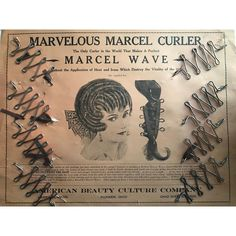 Antique 1920s Marcel Curlers Waves Iron, Marcel Waves, 1920s Hairstyles, Finger Waves, Antique Stores, Curlers, Hair Brush, Silver Hair, Vintage Beauty
