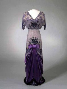 1910-1913  Evening dress worn by Queen Maud of Norway  Silk, glass and metal  Nasjonalmuseet
