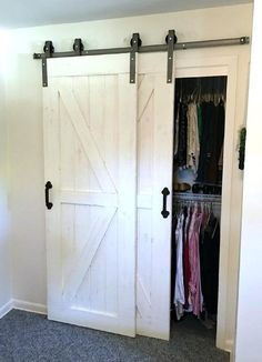 Double Door Single Track Bypass Barn Door on a Single Rail. Hardware Rustic Farmhouse Track Kit - Po - Double Door Single Track Bypass Barn Door on a Single Rail. Black Doors, Door Design, Closet Bedroom, Rustic Hardware, White Barn, Diy Door, Double Sliding Barn Doors, Bedroom Doors