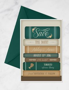 Books Save the Date for Library Wedding by MissDesignBerryInc