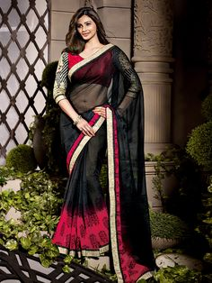 G3fashions Daisy Shah Imperial black chiffon printed saree Product code:  G3-WSA1508 Price: ₹ 2,448.00