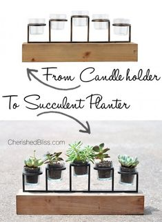 DIY From Candleholder to Succulent Planter decoe