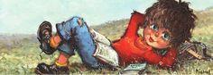 """Postal niño tumbado con libros 1970  """"Gamin étendu sur l'herbe"""" Michael Thomas Poulbot"""