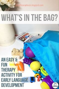 """One of my favourite things to use in therapy is my """"feely bag""""; it's full of toys and everyday objects which can all be used to elicit language from young children on my caseload. This post shares the why and the how of setting up 'feely bags' inyour speech room too!"""