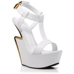 Giuseppe Zanotti Platform Wedge Sandals - Jee Signature ($1,175) ❤ liked on Polyvore featuring shoes, sandals, heels, wedges, chaussures, bianco, high heel wedge sandals, platform wedge shoes, heeled sandals and wedge sandals