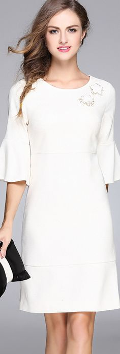 White Applique Bell Sleeves Dress