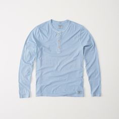 Abercrombie & Fitch Garment Dye Henley ($11) ❤ liked on Polyvore featuring men's fashion, men's clothing, men's shirts, men's casual shirts, light blue, mens cotton shirts, mens light blue dress shirt and mens henley shirts
