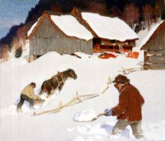 Clarence Gagnon, Winter Scene Canadian Painters, Canadian Artists, Impressionist Paintings, Landscape Paintings, Clarence Gagnon, Winter Scenery, Western Theme, Post Impressionism, Winter Art