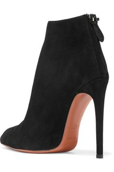 Heel measures approximately 115mm/ 4.5 inches Black suede Zip fastening along back Made in Italy