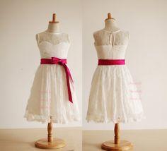 Bow Sash Flower Girl Dresses/Lace Flower Girl by DressLife on Etsy, $45.00