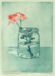Pelargonium and mason jar etching.