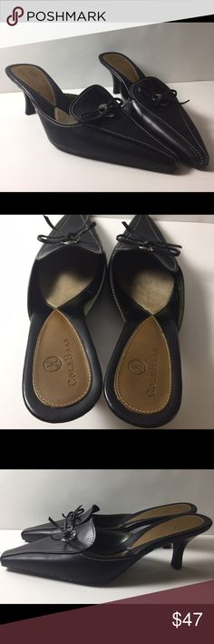 Cole Haan Mule Sz 6 Cole Haan Women's Size 6B Kitten Heel Slide On Black Patent Leather Bow Sandal. Minor wear, minor cracking on bottom shown. Cole Haan Shoes Mules & Clogs