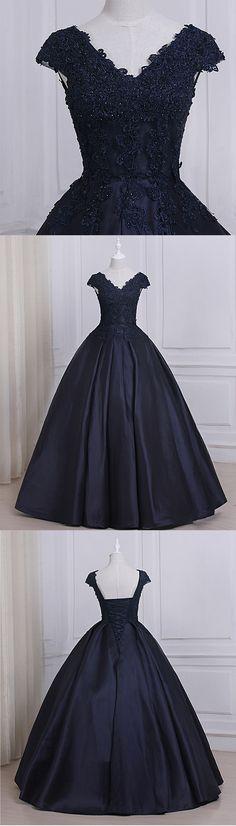 Navy blue satin V neck cap sleeve long senior prom dress with appliques #prom #dress #promdress #promdresses