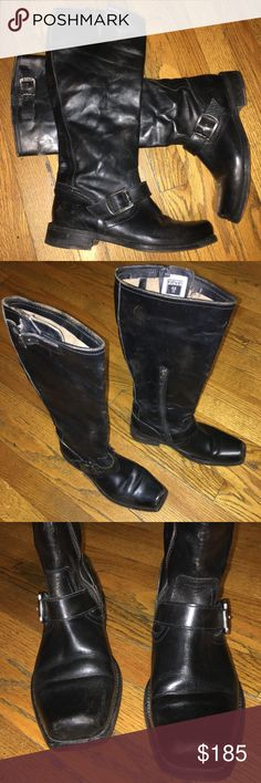 Frye Smith Engineer Boots Black - Sz 7 GUC with some scuffs, scraps, scratches from the natural distressed look and minimal.  They feature an inside ankle zipper for easy slip on as well as adjustable buckles on the top of the calves and ankles. Frye Shoes Heeled Boots