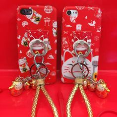 2016 new arrive Red Lucky Cat with Bell+ring+lanyard Painted Soft TPU Phone Case For iphone 6 6s 7 plus Silicone Back Cover